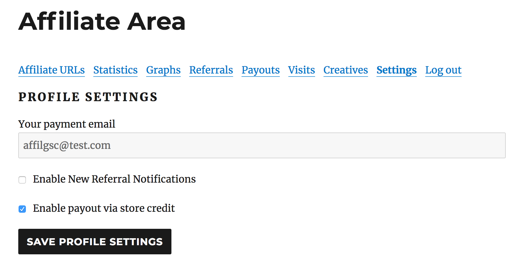 Affiliate Area Settings enable store credit payouts