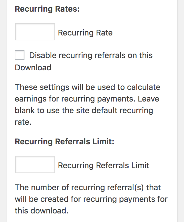 Download recurring rates settings