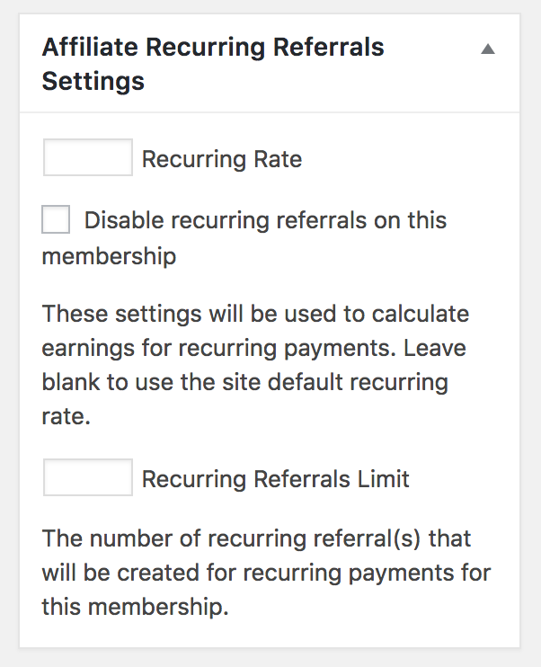 membership recurring referral settings