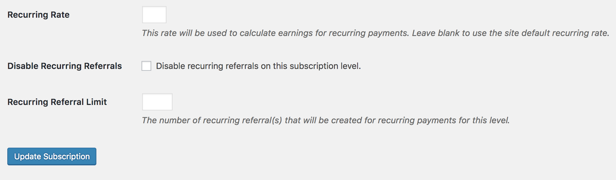 subscription recurring referral settings