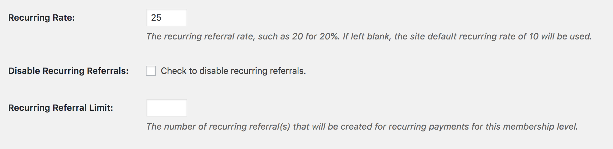 paid memberships pro recurring referrals settings