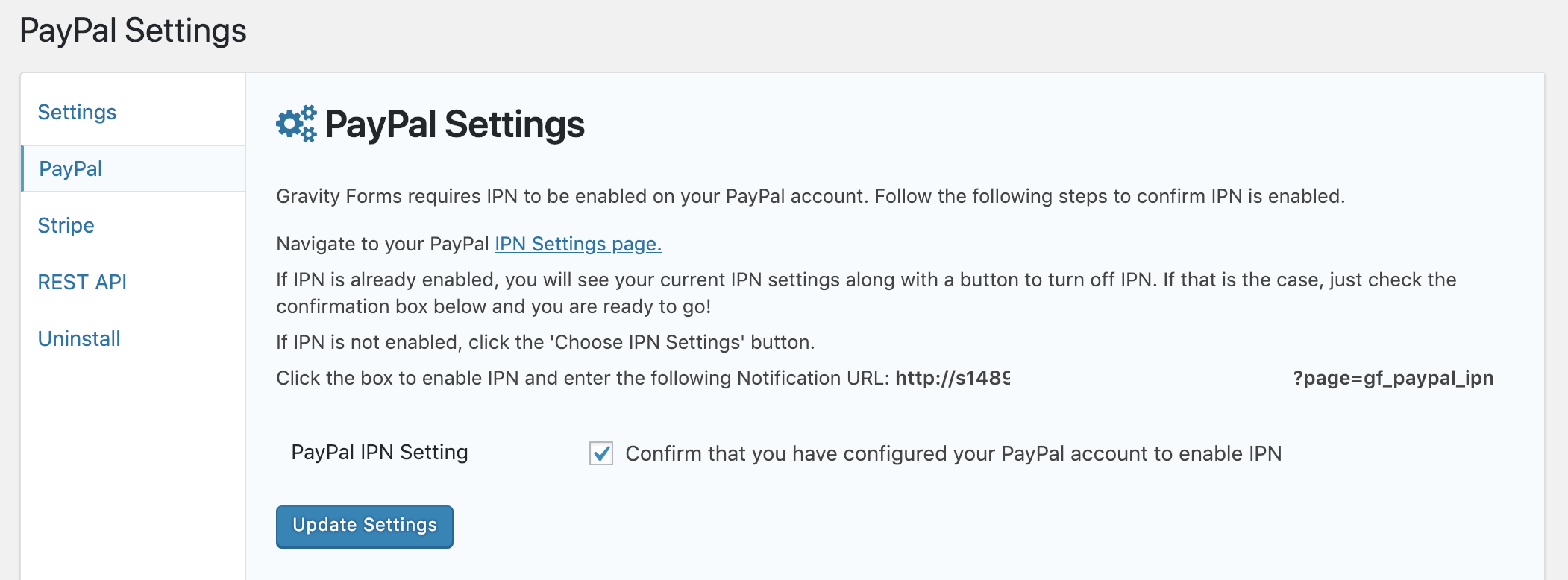 Gravity Forms PayPal Settings