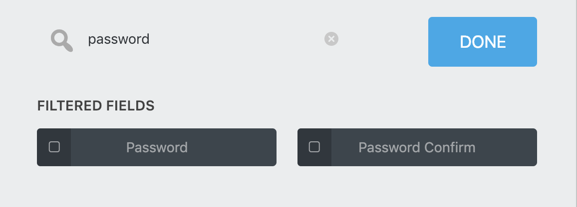 Search for Password and Password confirm fields