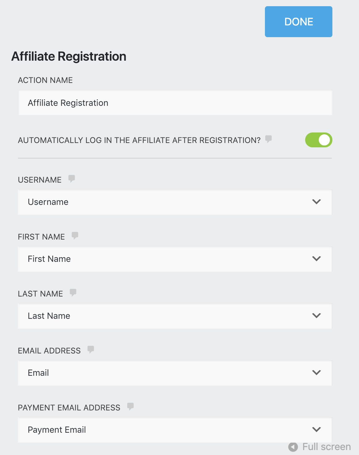 Affiliate Registration field list for mapping