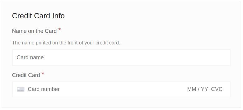 Combined credit card fields (default)