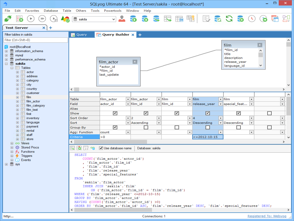 Query Builder: Sorting and Filtering - SQLyog Knowledge Base