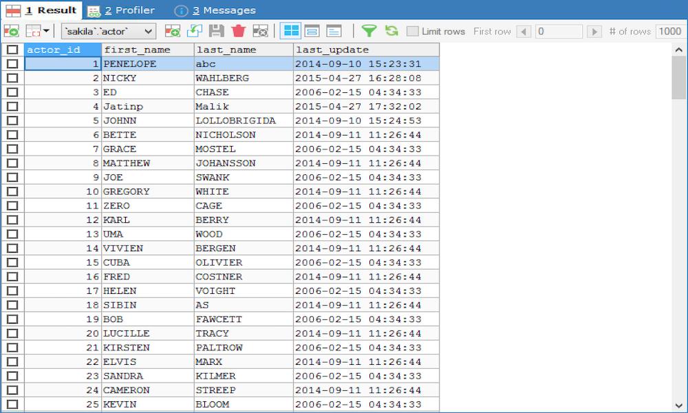 Result Tab - SQLyog Knowledge Base