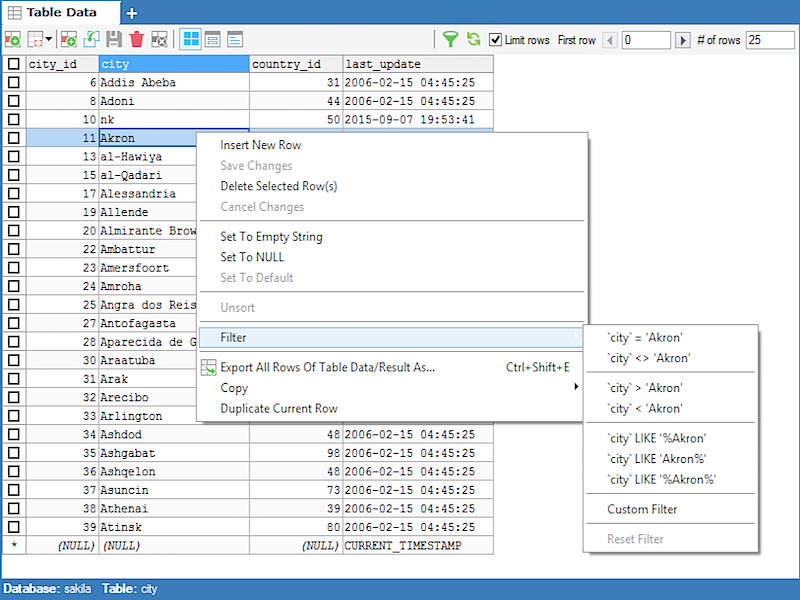 GUI Filtering and Sorting of Data - SQLyog Knowledge Base