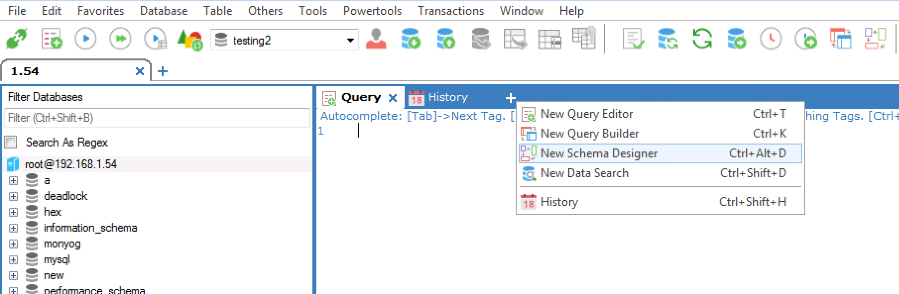The sqlyog schema designer sqlyog knowledge base icon in the query editor line to the right of all open tabs and select the option new schema designer or just use the keyboard shortcut ctrlaltd biocorpaavc