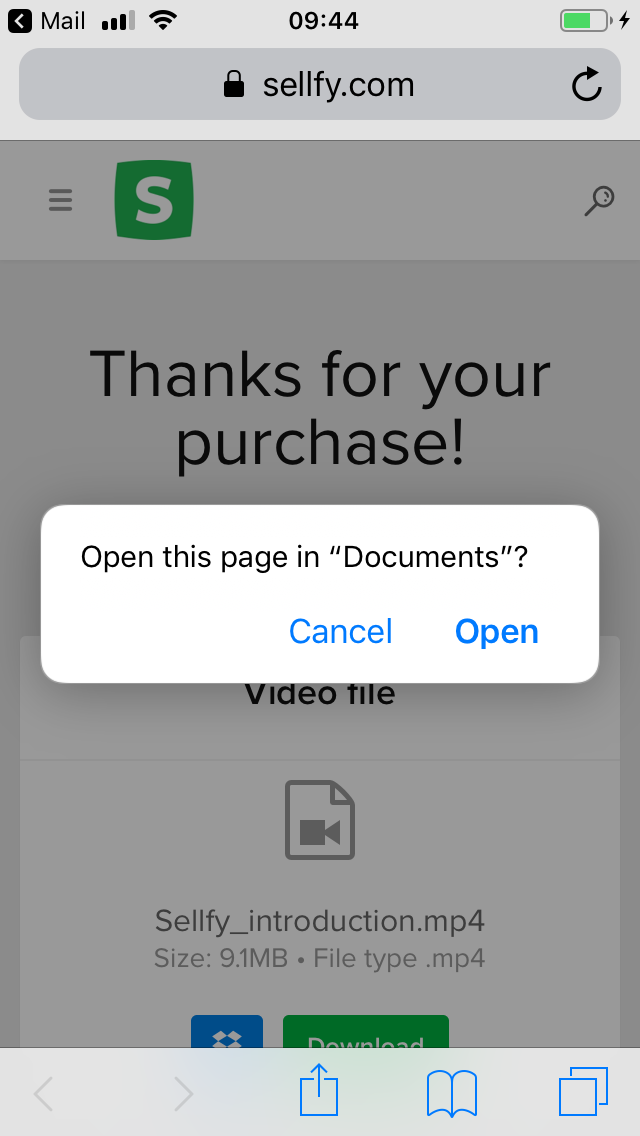 How to save downloads to a smartphone or tablet - Sellfy documentation