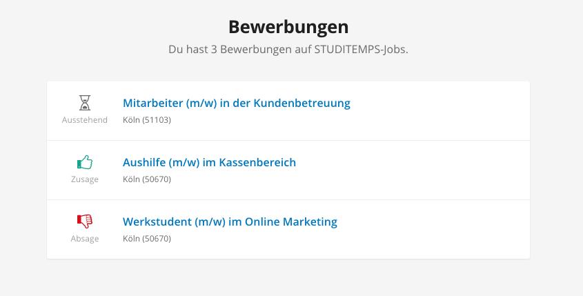 wo kann ich den status meiner bewerbungen sehen jobmensa studenten wissensdatenbank - Bewerbung Zusage