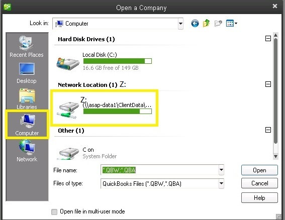 How do you keep QuickBooks defaulted to multi-user mode