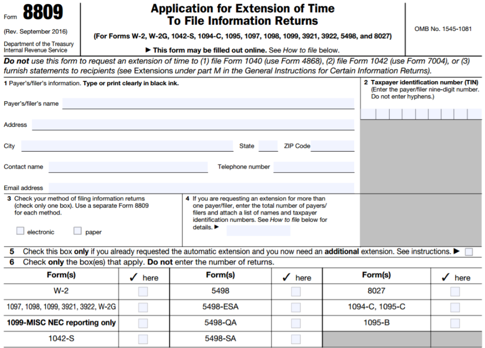 IRS Form 8809 - Application for Extension of Time to File Information Returns