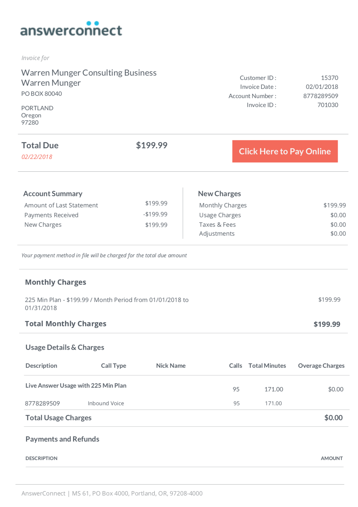 how do i read my invoice answerconnect support center