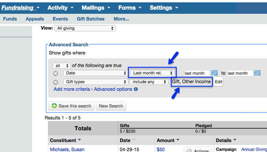 Generate a lump sum report to record donations into