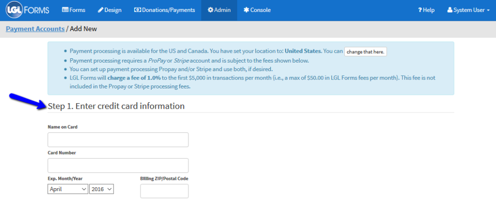 Enable your LGL Forms account to accept Stripe payments