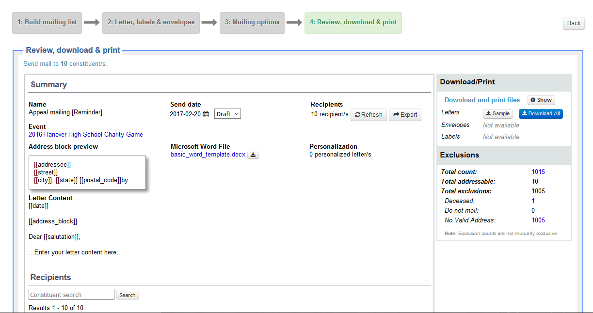 Review and personalize mailings   Little Green Light Knowledge Base