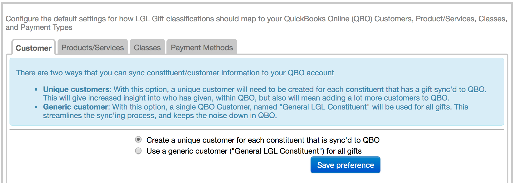 QuickBooks integration: Sync gifts from LGL to your QB