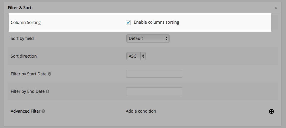 Enabling the table column sorting feature - GravityView