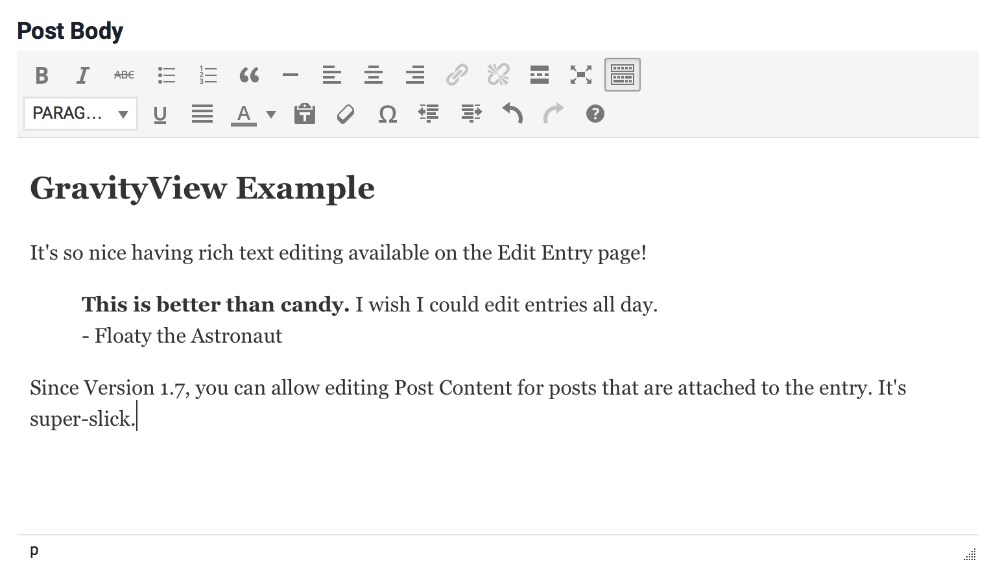 Screenshot of a Post Content field being edited, with placeholder text in the editor