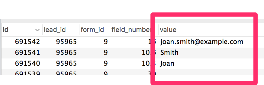 Entry values stored in the database, not encrypted. Example: Joan Smith