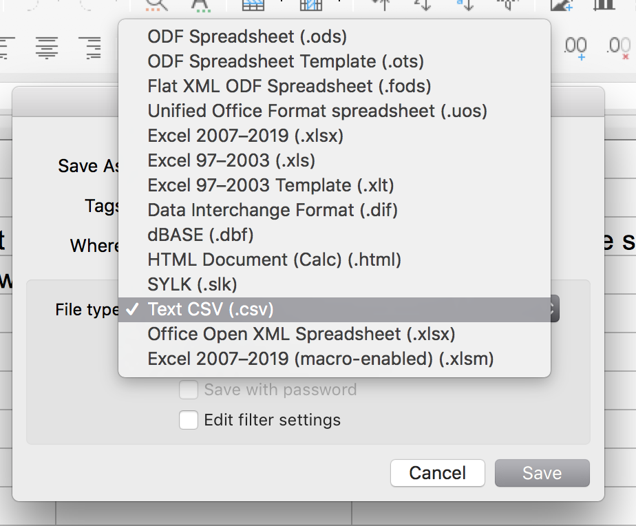 Exporting a CSV from LibreOffice - GravityView Support