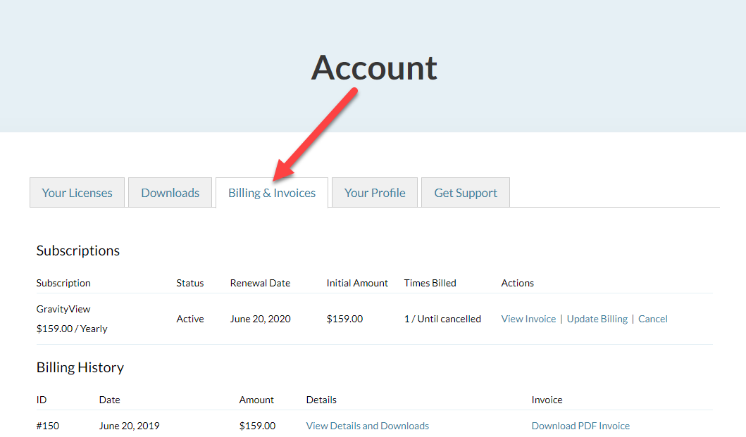 The Billing & Invoices tab on the Account page