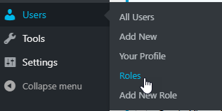 Clicking on the Roles submenu under Users