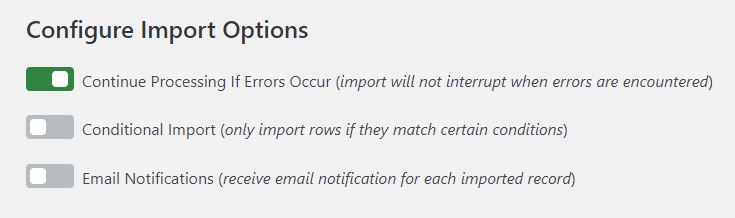 Configuring import options