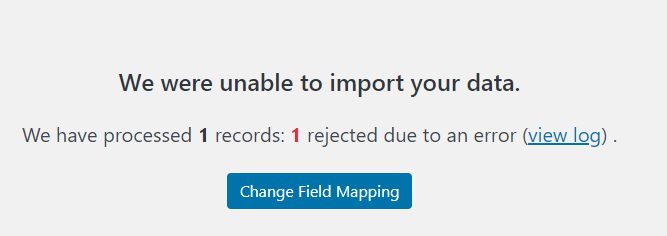 Message indicating that no records were imported due to errors.