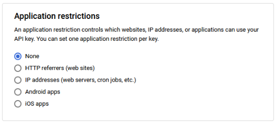 Application restrictions set to None in the Google Cloud Platform Console