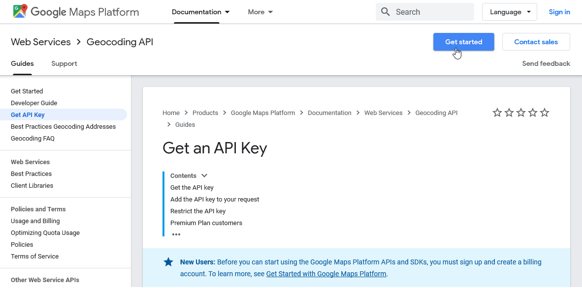Signing up for a Google Maps API key