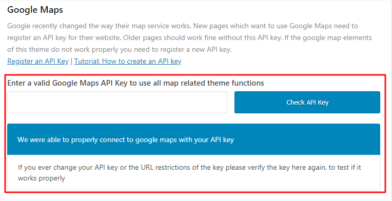 Entering the Google Maps API key into the Theme Options page for the Enfold theme