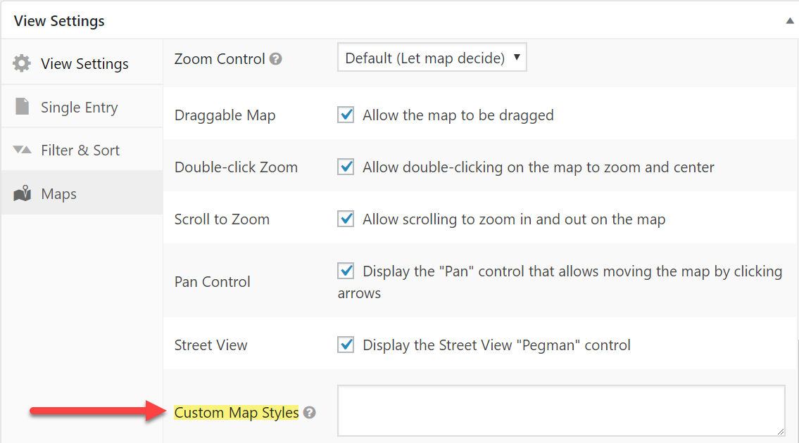Add your own CSS in the Custom Map Styles box in View Settings - Maps