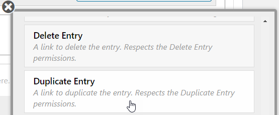 Choosing the Duplicate Entry field to add to the Single Entry View