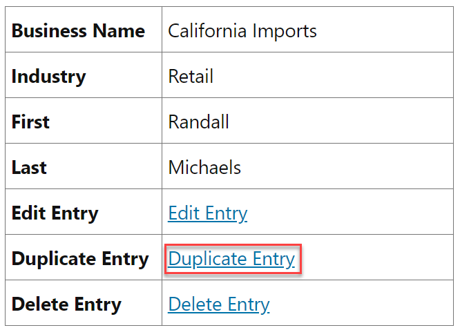A Single Entry View showing the newly added Duplicate Entry link