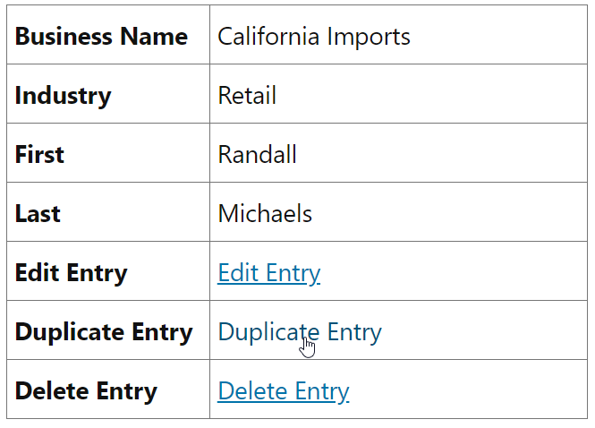 Clicking on the Duplicate Entry link to copy an entry