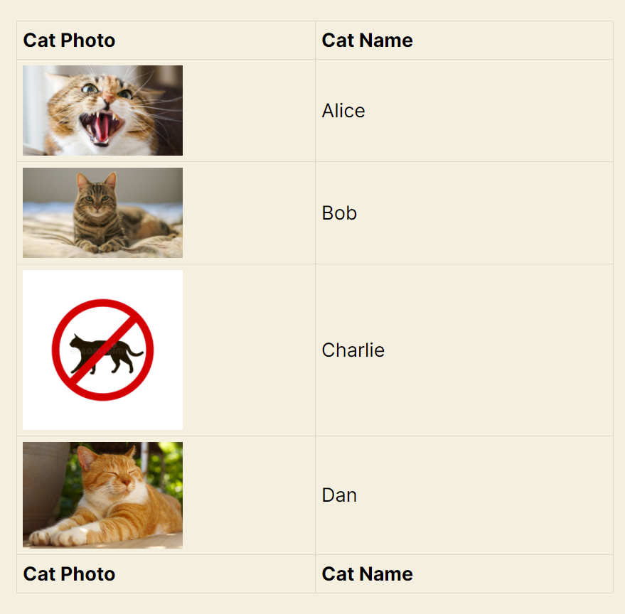 Screenshot of the View showing 4 entries, 3 of them have photos of cats, one of them has a placeholder image