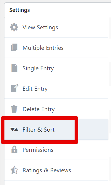 Screenshot of the Settings Panel highlighting the Filter & Sort tab