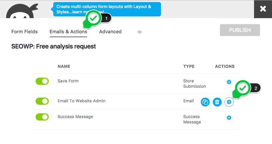 How to set the notification mail in Ninja Forms - Lumberman