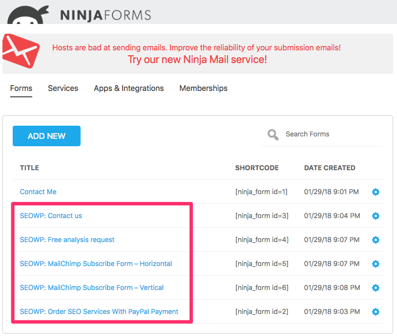 How to import the Ninja Form plugin missing demo forms