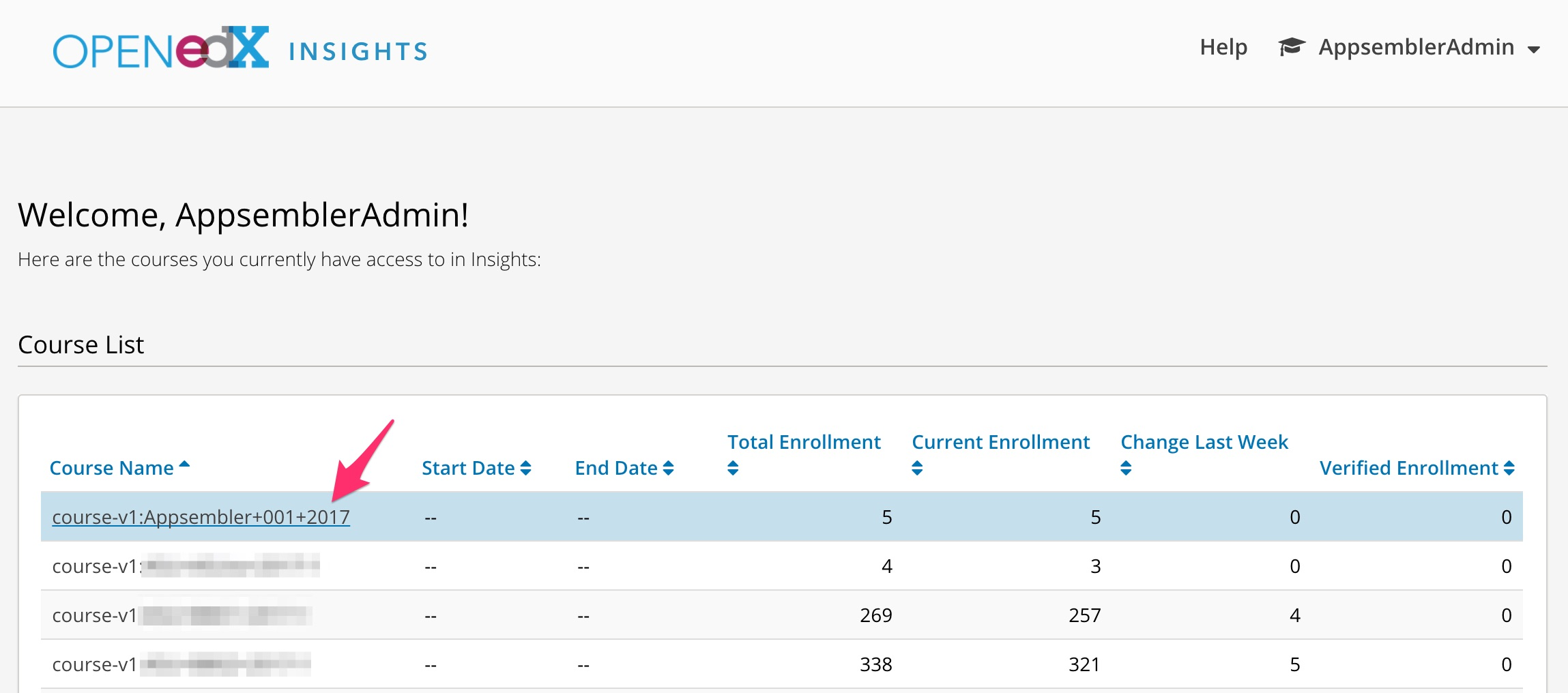 Viewing enrollment numbers and activity in Open edX Insights