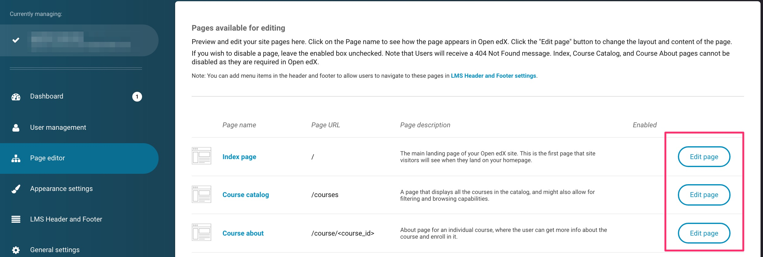 page editor hub with three edit page buttons highlighted on the right