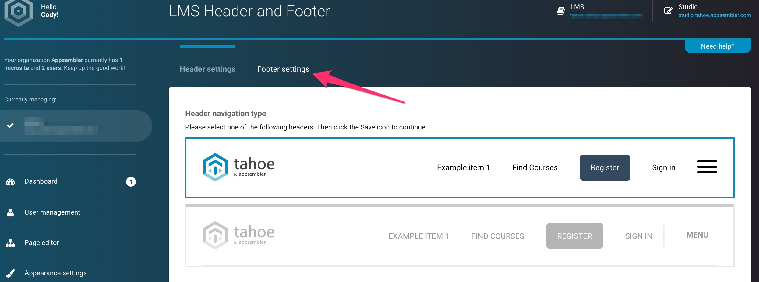 footer settings tab is at the top of the screen next to the header settings tab