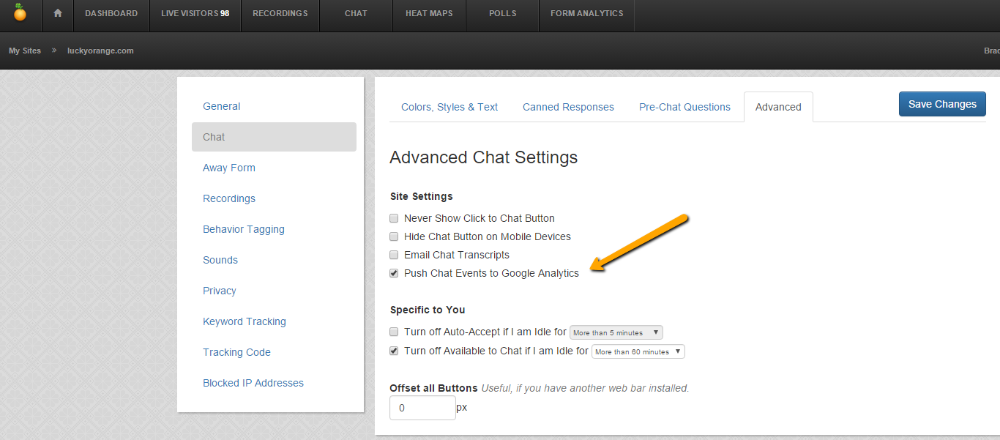 how do i find chat results in google analytics lucky orange