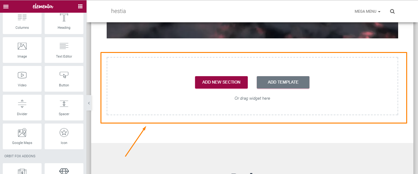 How to add new sections to Homepage with Elementor in Hestia