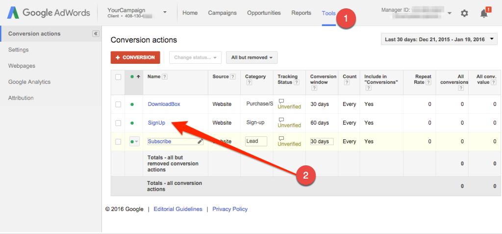 Find Your Google Conversion Id And Et Google Conversion Label In