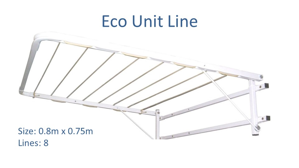 eco unit line clothesline 0.8m x 0.75m pictured in white colour