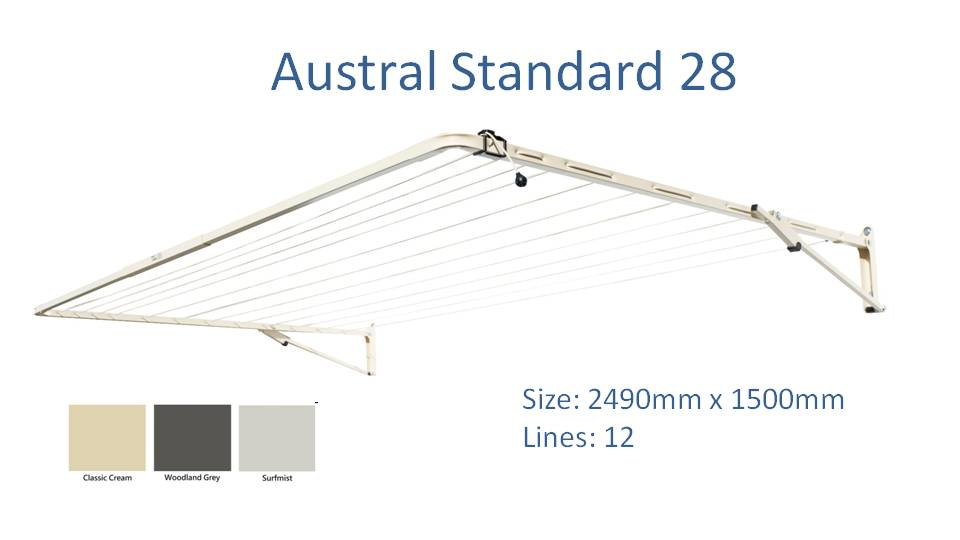 austral standard 28 2500mm wide clothesline