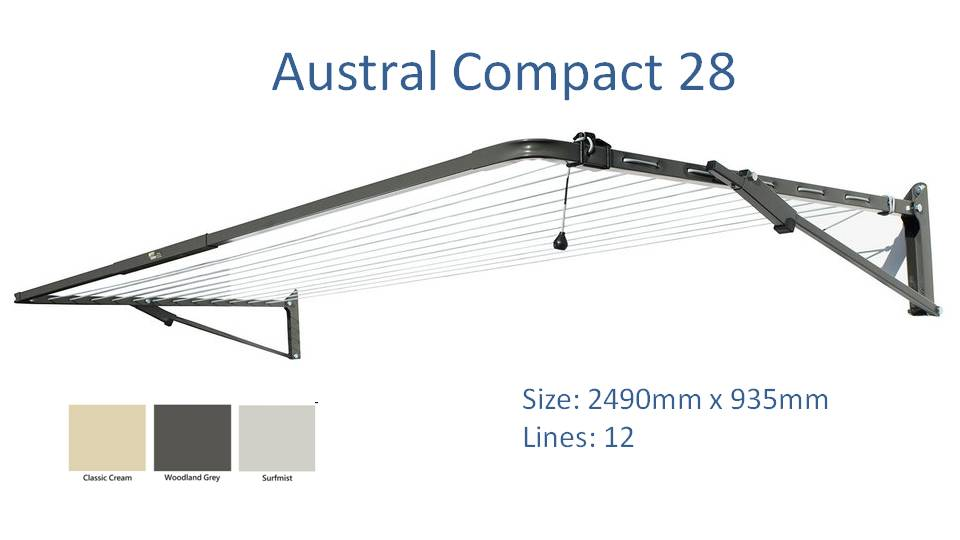 austral compact 28 2500mm wide clothesline